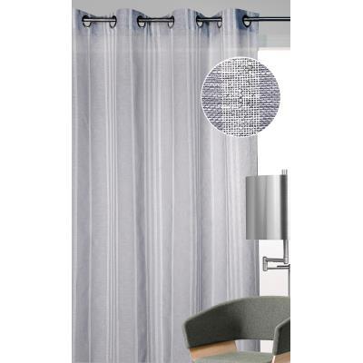 Rideau prêt à poser en 100 % polyester coloris gris - Dim : L 140 x H 260 cm -PEGANE-