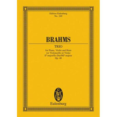 Partitions classique EULENBURG BRAHMS JOHANNES PIANO TRIO EB MAJOR OP 40 PIANO VIOLIN AND HORN Format poche