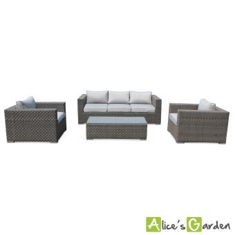 Salon de jardin en résine tressée plate large 5 places Largo canapé  fauteuil table - Alice\'s Garden