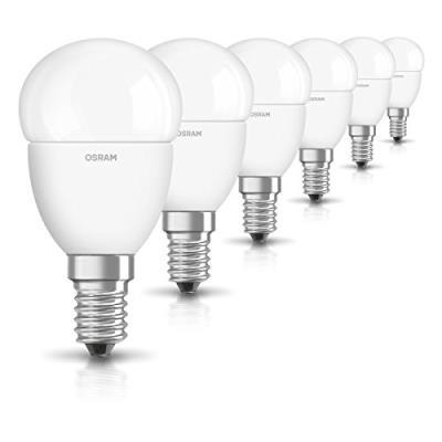 Osram ampoule led e14 star classic p ampoule basse consommation/ 6 w- équivalent à une ampoule incandescente de 40 w, ampoule led sphérique /mat, blanc chaud -2700k, lot de 6