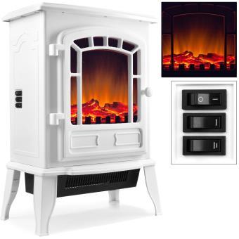 chemin e lectrique avec chauffage et effet feu de chemin e blanc achat prix fnac. Black Bedroom Furniture Sets. Home Design Ideas