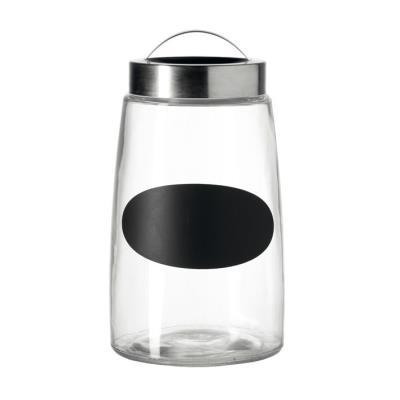 Pot de rangement en verre avec couvercle alu et étiquette ardoise KITCHEN - 23cm
