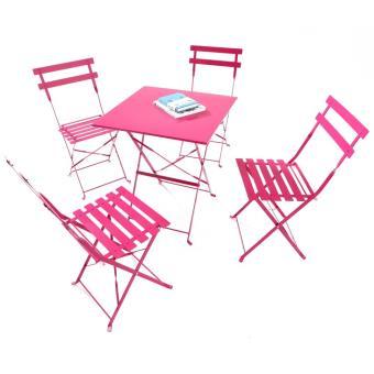 Salon de Jardin Maia 4 personnes - Rose Framboise - Mobilier de ...