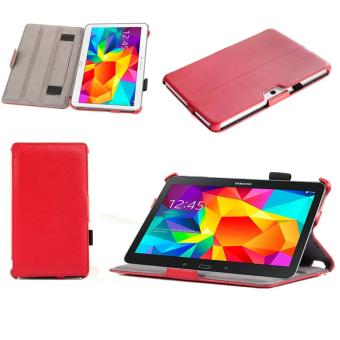 Housse Samsung Galaxy Tab 4 10.1 pouces 16/32 Go rouge (Wifi/3G/4G/LTE) Ultra Slim Cuir Style avec multis stand - Etui luxe coque de protection ...