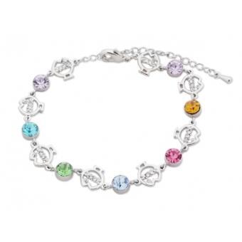 acheter populaire 79273 25c78 Bracelet argenté, faux diamants colorés et poissons en strass bijou  fantaisie pas cher