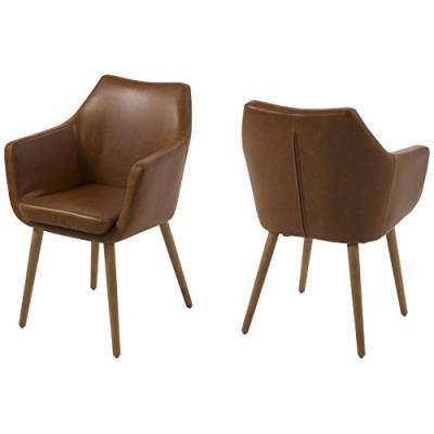 Ac design furniture fauteuil 0000055607 trine - 58 x 58 x 84 cm, assise cuir, dos vintage cognac, structure bois, chêne, ölbehandelt