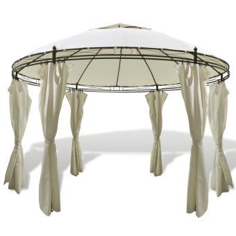 vidaXL Tonnelle ronde avec rideaux 3,5 x 2,7 m - Mobilier de Jardin ...