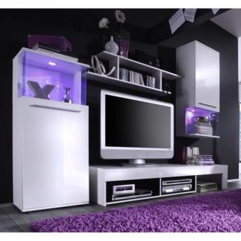 Punch meuble tv mural 228cm coloris blanc mat et brillant for Meuble mural multimedia