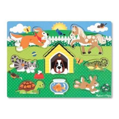 Puzzle en bois à encastrer les animaux domestiques 8 pièces