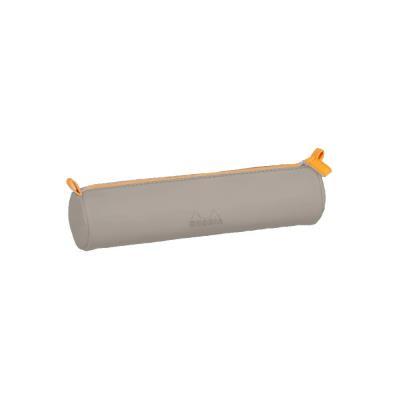 Rhodia : Trousse Ronde Simili Cuir 5.5 x 21.5 cm - Beige