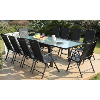 Salon de jardin Breshia 10 Aluminium et Textilène + 10 fauteuils ...