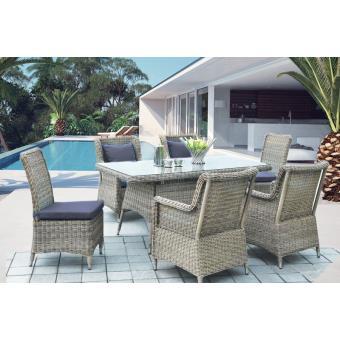 Salon de jardin extérieur design luxe résine tressée ronde AMAYA ...