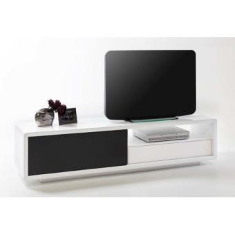 Meuble Tv Design Blanc Noir Laque Avec Porte Coulissante Alicia