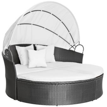Salon de jardin lit transat polyrotin fauteuil gris 2101002 ...