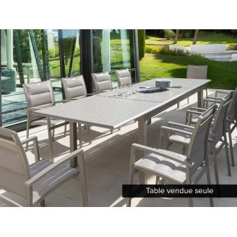 Table extensible rectangulaire Azua Alu 8/12 places Taupe ...