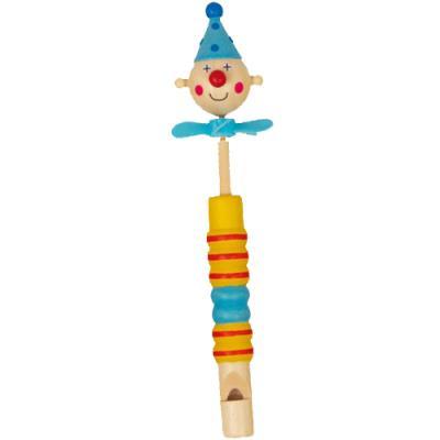 Flûte clown en bois à coulisse jaune et rouge Xavier
