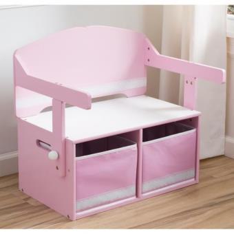bureau enfant en bois banc et pupitre rose Achat prix fnac