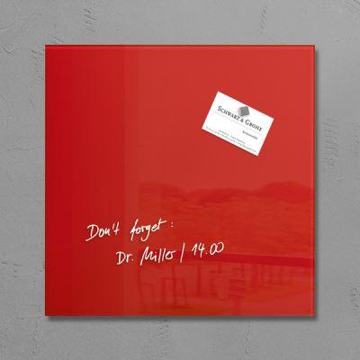 Sigel SI-GL159 Tableau magnétique en verre Artverum 300x300x15mm Rouge