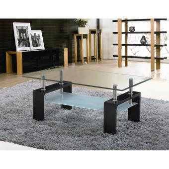 Sofia table basse laqu e noire a plateau verre achat - Table basse laquee noire ...