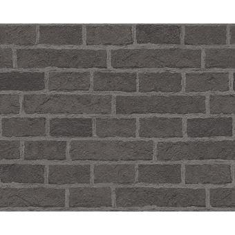 Papier Peint Pp Effet Brique Noir Lot De 12