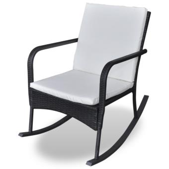 vidaxl rocking chair fauteuil bascule en rotin noir achat prix fnac. Black Bedroom Furniture Sets. Home Design Ideas