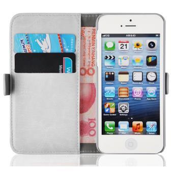 CABLING Etui iPhone 5 5s se Houe Pochette en Cuir Veritable Portefeuille avec Rangements de Cartes Coque de Protection Fermeture Aimant Fonction Stand pour iPhone 5 5s 5c Blanc br CABLING