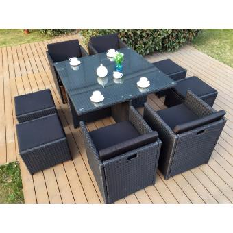 Salon De Jardin Encastrable 8 Places | Salon De Jardin Miami 8 Resine Tressee Fauteuils Encastrables 8