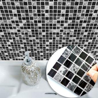 15 * 15cm Imitation Marbre Meubles PVC Imperméable À L\'eau Auto-Adhésif  Papier Peint Cuisine Salle De Bains Mosaïque Carrelage Autocollant Wall Art  ...