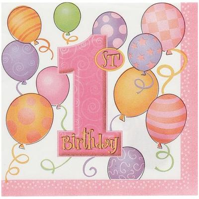 16 Serviettes de Table 1er Anniversaire Fille