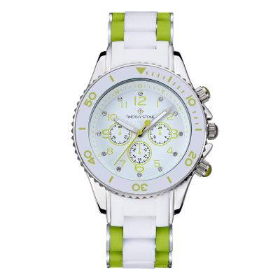 Timothy Stone - AMBER - Montre Femme - Vert/Blanc Argent