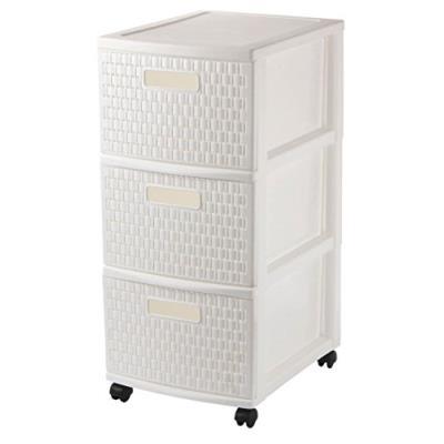 Rotho 448101q01q armoire de rangement à roulettes country avec 3 tiroirs