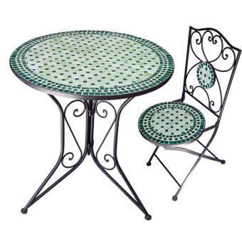 Ensemble table+5 chaises fer forgé mosaïque verte - Mobilier de ...