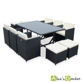 Salon de jardin Vasto Noir table en résine tressée 6à 10 places, fauteuils  encastrables - Alice\'s Garden
