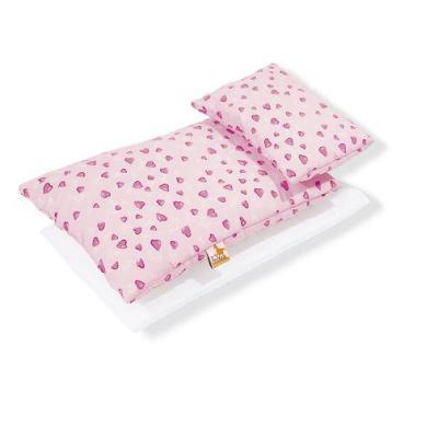 Pinolino - Textile 3 pièces pour lit de poupée - coeurs roses