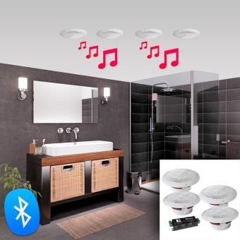 19 Sur Kit De 4 Haut Parleurs De Plafond Etanches 160w Bluetooth E Audio B403bl Enceinte D Exterieur Achat Prix Fnac
