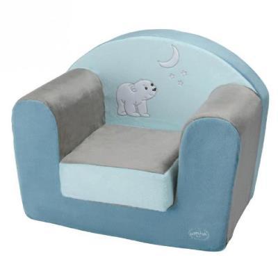 Domiva fauteuil flocon bleu et marron