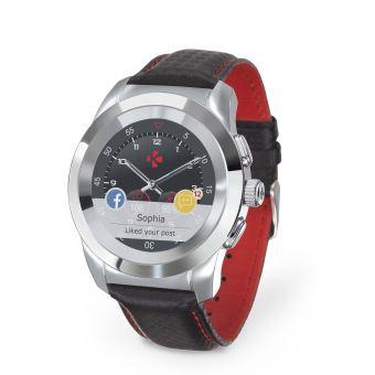 MyKronoz ZeTime Verbonden Horloge Premium Zilver met Armband Zwart en Rood