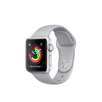 Apple Watch Series 3 38 mm Boîtier en Aluminium Argent avec Bracelet Sport Nuage