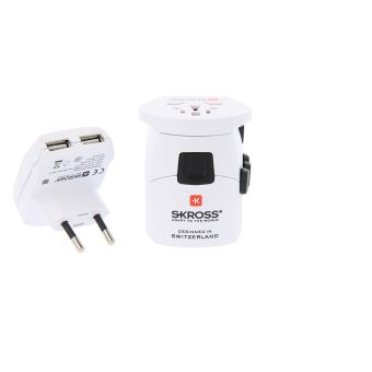 Adaptateur Universel Skross 150 Pays Pro+ USB Blanc