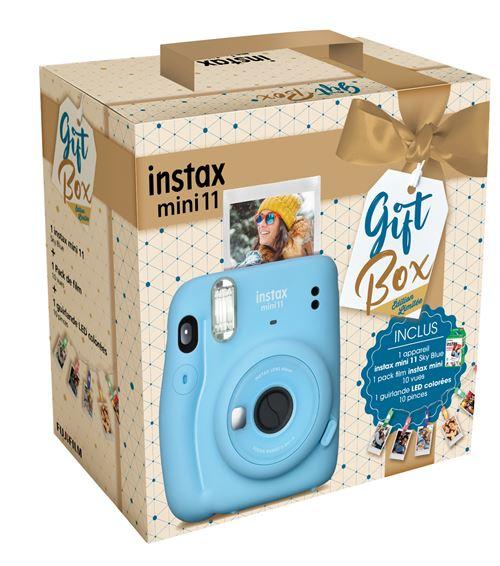 Pack Appareil photo instantané « Gift Box » Fujifilm Instax Mini 11 Bleu Givré + Pack film Instax Mini 10 vues + Guirlande LED Multicolore