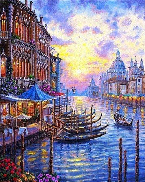Peinture par numéro Figured'Art Le grand canal de Venise 40x50 cm