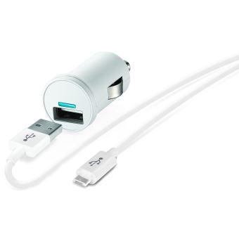 Chargeur allume-cigare USB Temium + Câble Micro USB 1 m Blanc
