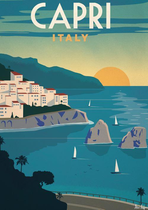 Affiche Sergeant Paper Capri 50x70 cm Edition limitée signée