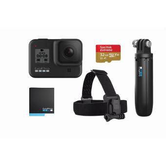 Bundle Vacances GoPro Hero 8 Noir + Fixation trépied + Carte SD 32Go + Serre-tête