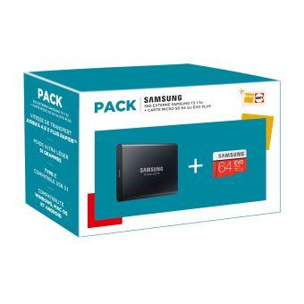 Pack Fnac SSD Externe Samsung T5 1To + Carte Micro SD Evo Plus 64Go