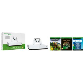 Pack Console Microsoft Xbox One S All Digital 1 To + Minecraft + Sea of Thieves + Fortnite + Xbox Live Gold 1 mois