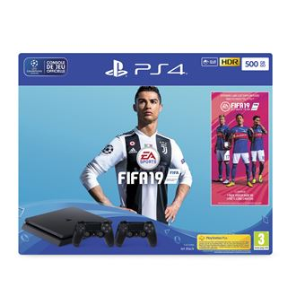 Pack Sony Console PS4 Slim 500 Go Noir + FIFA 19 Standard Edition