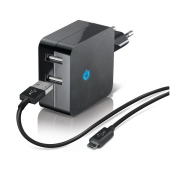 Chargeur secteur Double USB Temium + Câble Micro USB