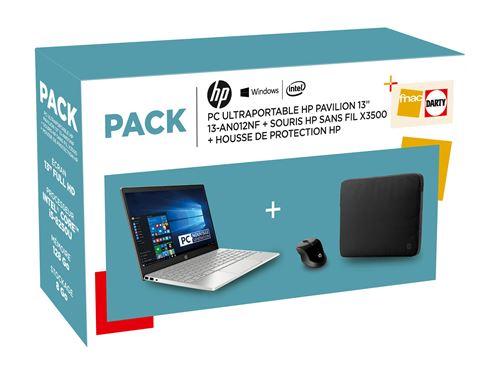 Pack HP PC Ultra-Portable Pavilion 13-an0002nf 13.3 + Souris sans fil X3500 + Housse de protection Noir