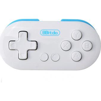 Mini Manette Gamepad Bluetooth 8bitdo Zero Blanche et bleue